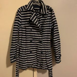 A navy blue and white striped peacoat